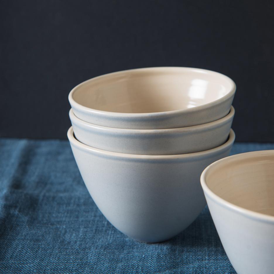 French ceramic serving bowl handmade dove grey