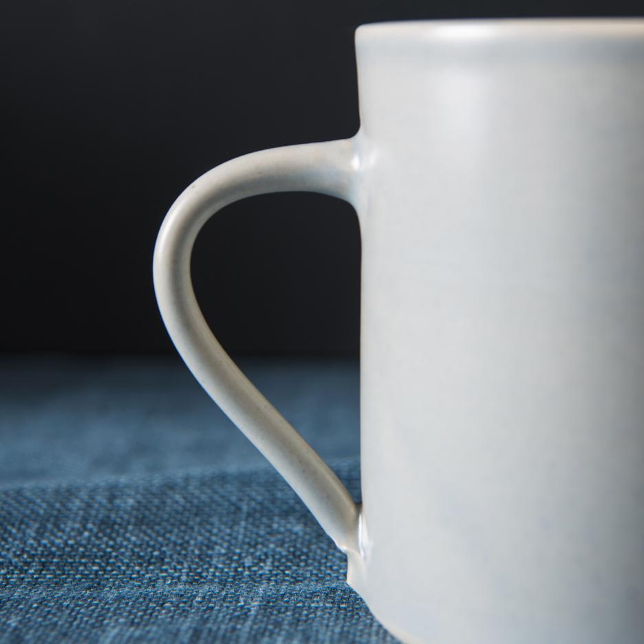 French ceramic pint jug handmade dove grey
