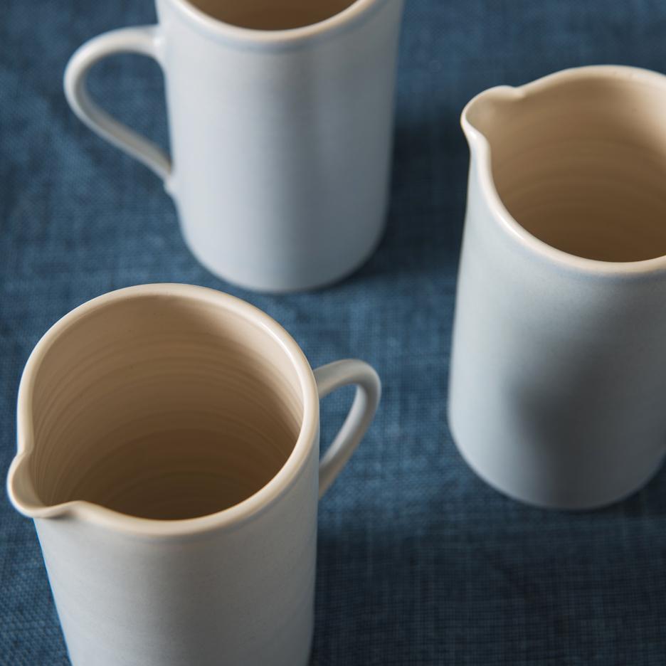 French ceramic tall jug handmade dove grey