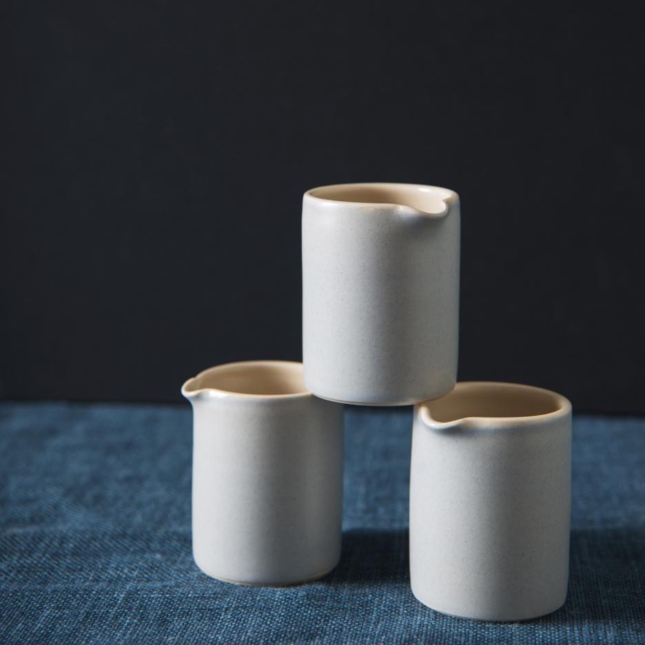 French ceramic espresso jug handmade dove grey