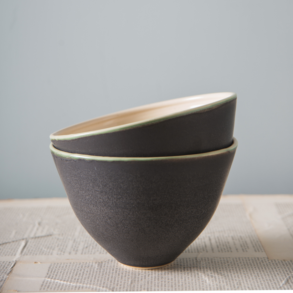 French ceramic serving bowl handmade black