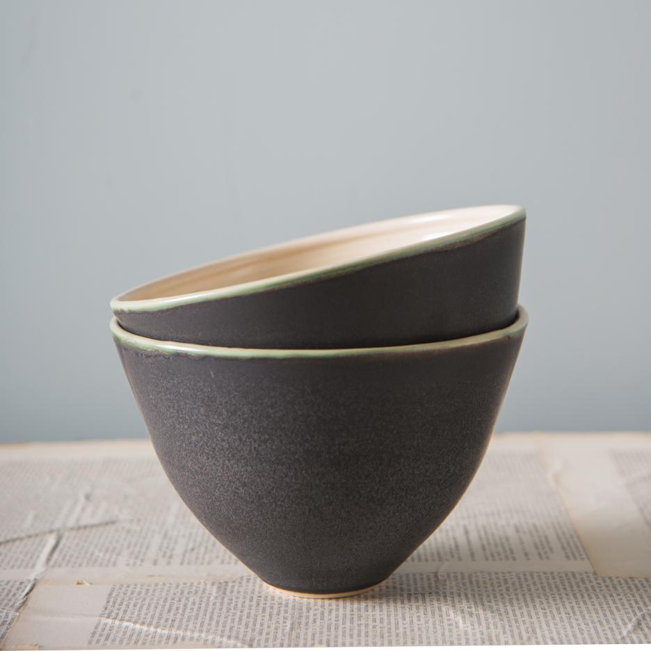 French ceramic serving bowl handmade black