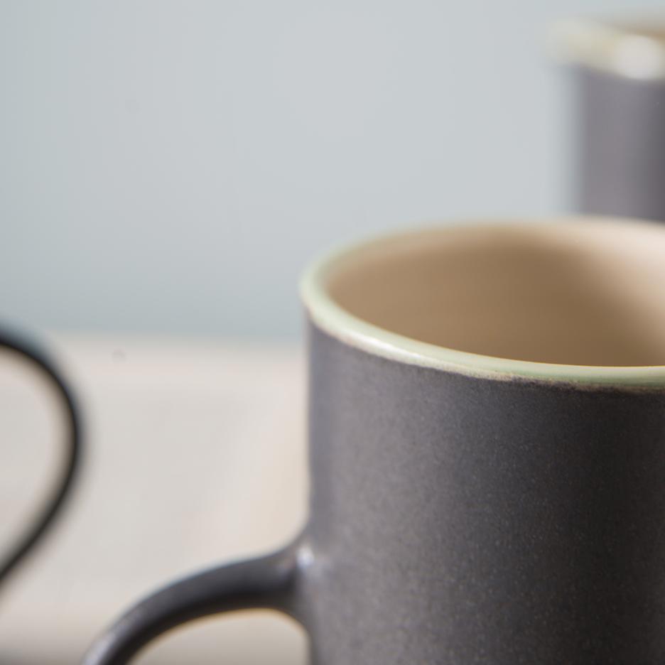 French ceramic tall jug handmade black