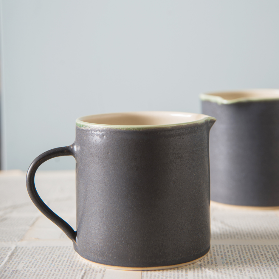 French ceramic pint jug handmade black