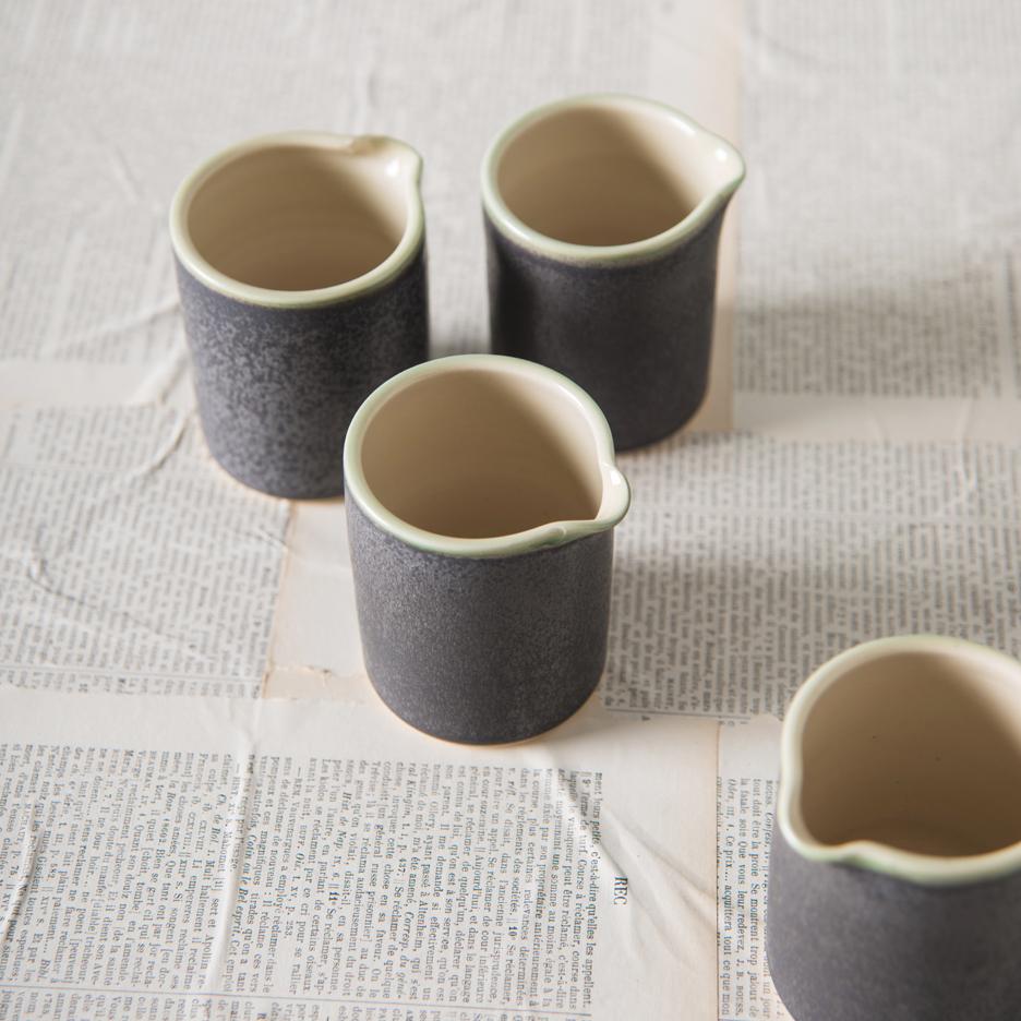 French ceramic espresso jug handmade black
