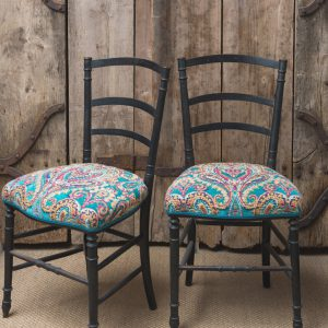 Pair of vintage occasional chairs, Mulberry fabric