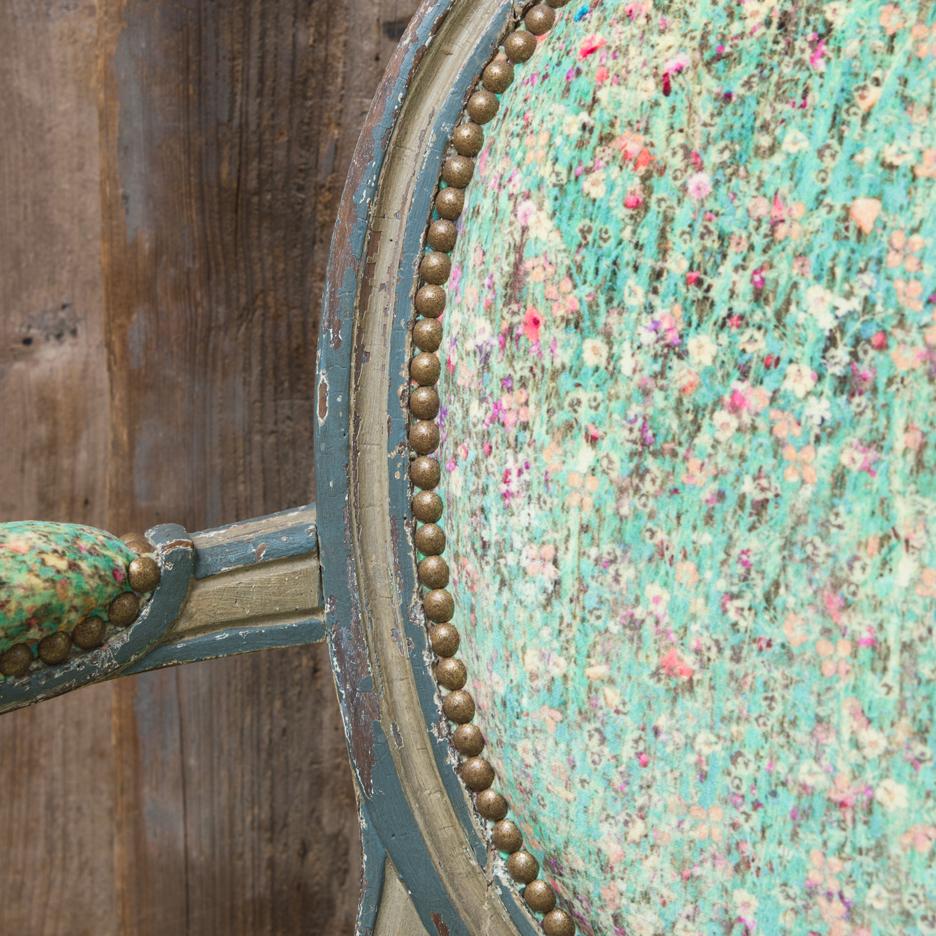 Antique Swedish style chair, Liberty velvet