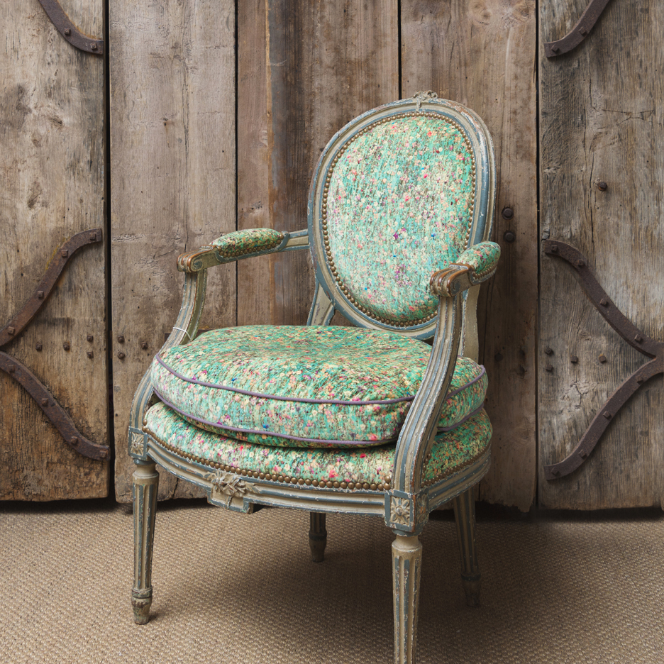 Antique Swedish style chair, Liberty velvet