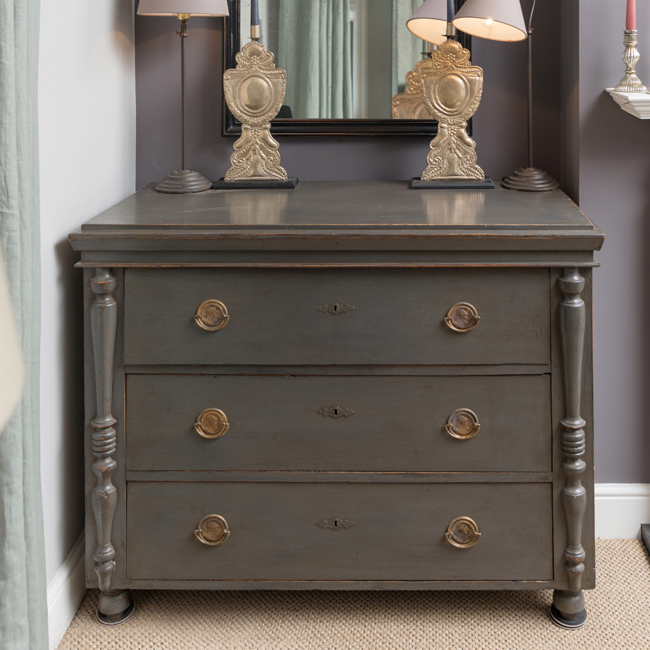 Antique chest of drawers, warm black