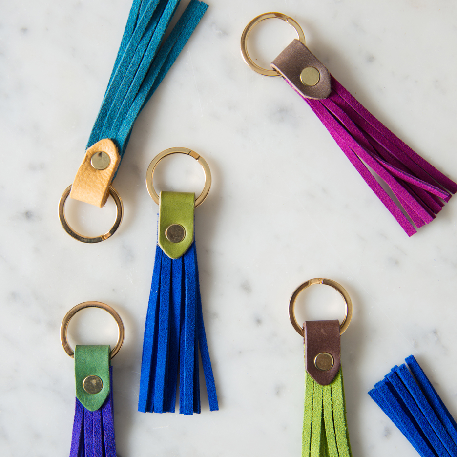 Suede and leather tassel key ring