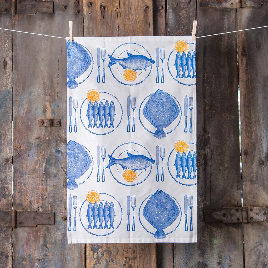 Thornback and Peel bright blue fish and lemon tea towel