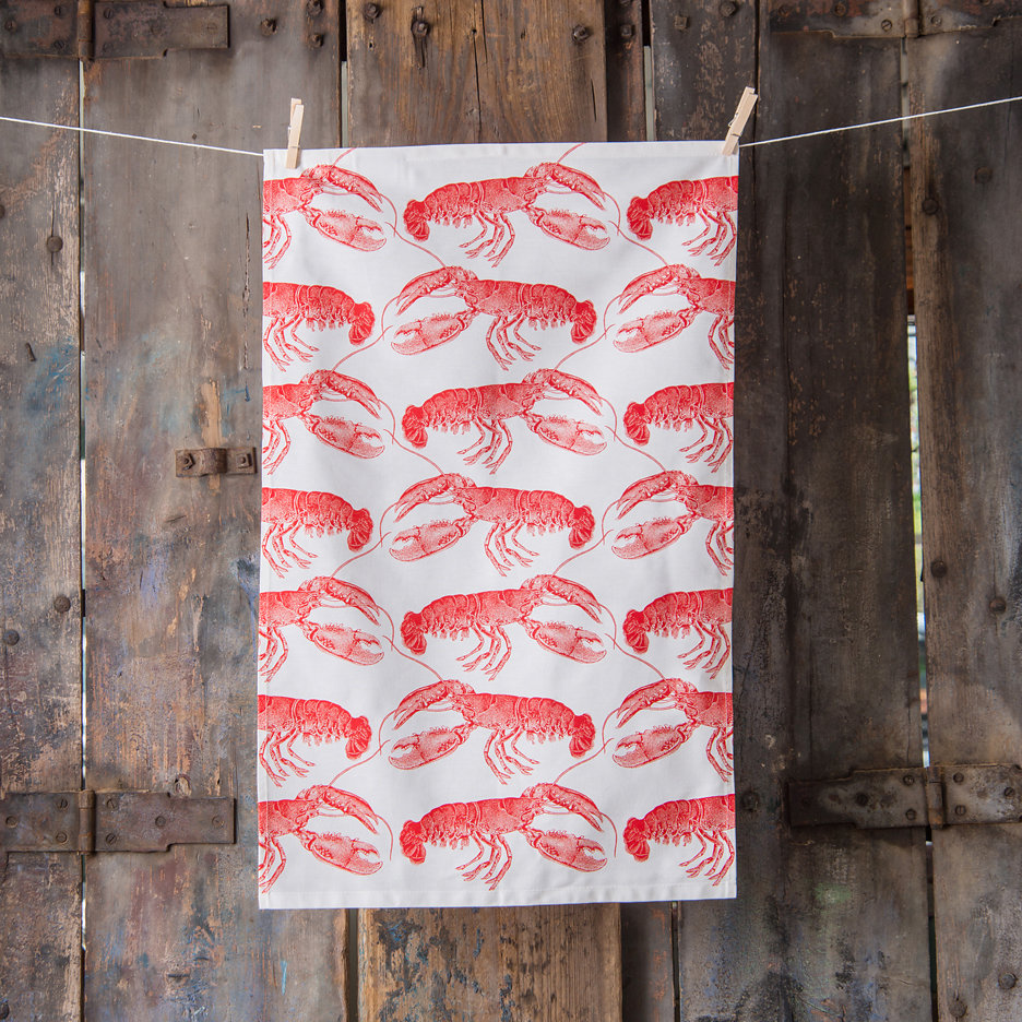 Thornback and Peel bright red lobster tea towel