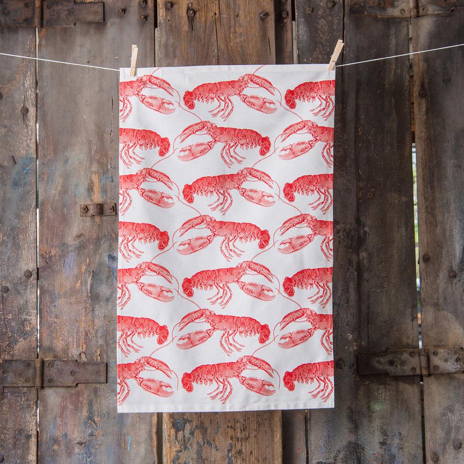 Thornback and Peel bright red lobster tea towel