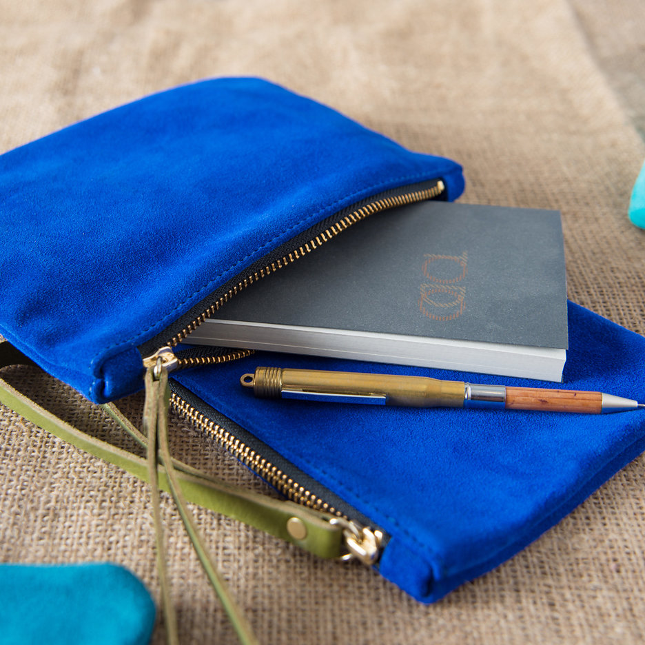 Suede clutch bag cobalt blue