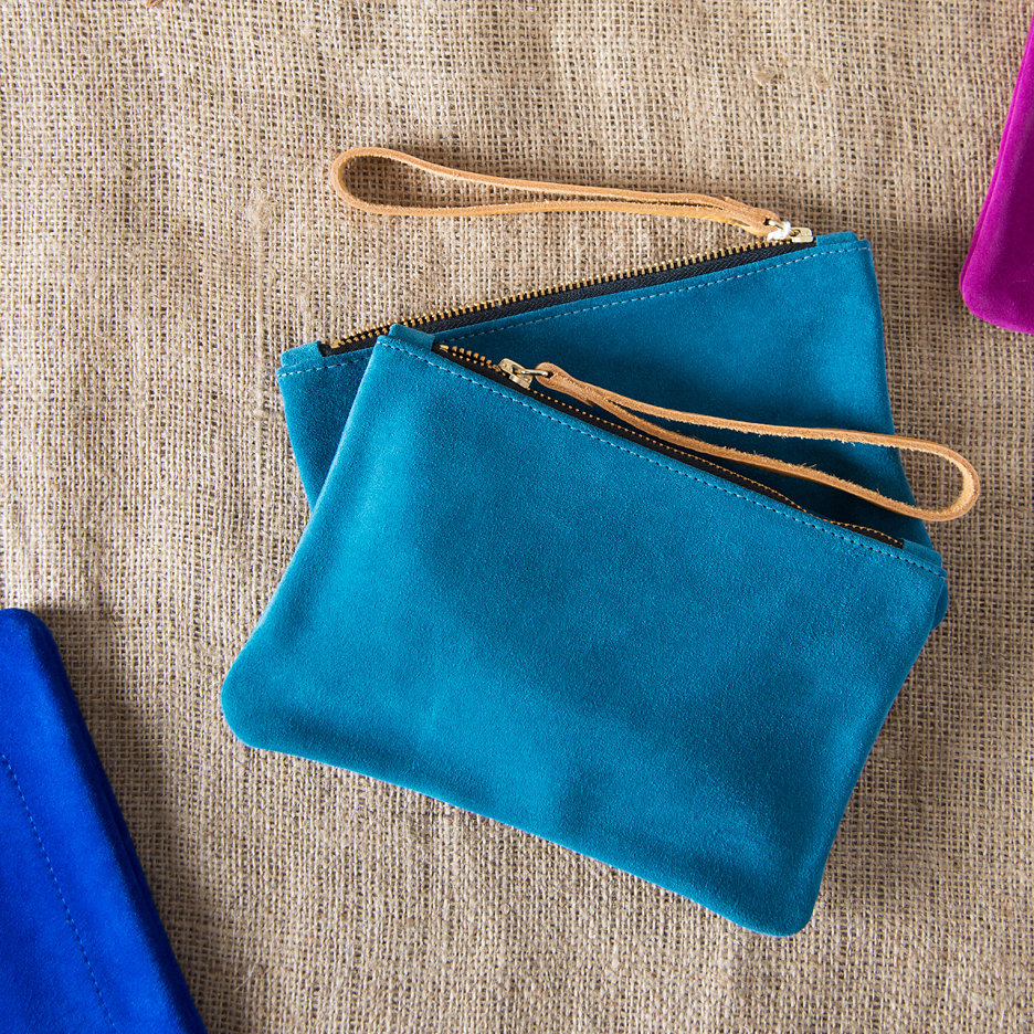Suede clutch bag teal