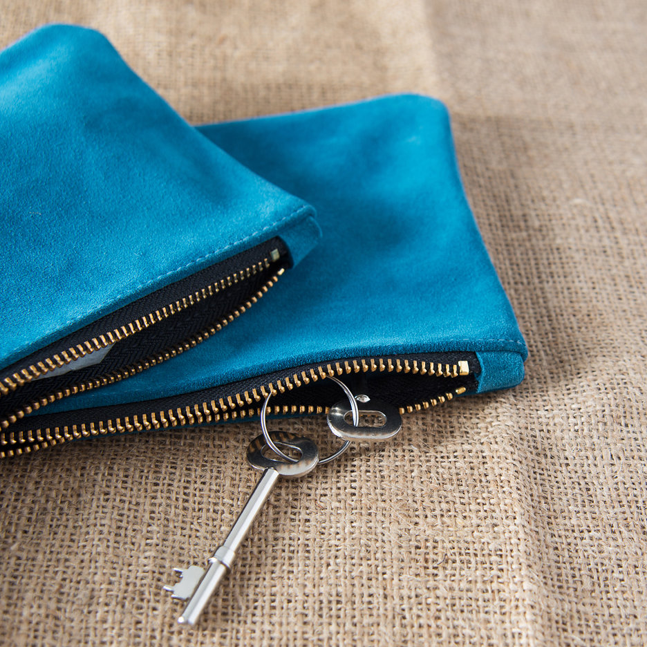 Suede clutch bag aqua