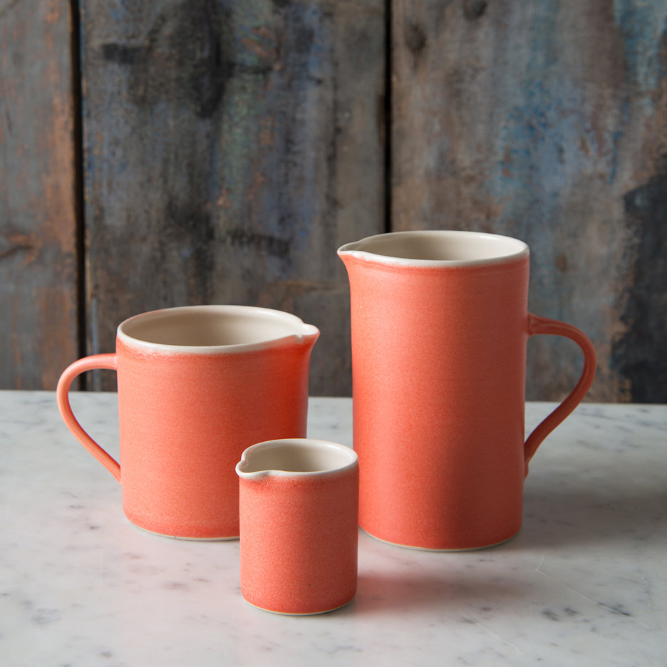French ceramic jugs handmade tangerine