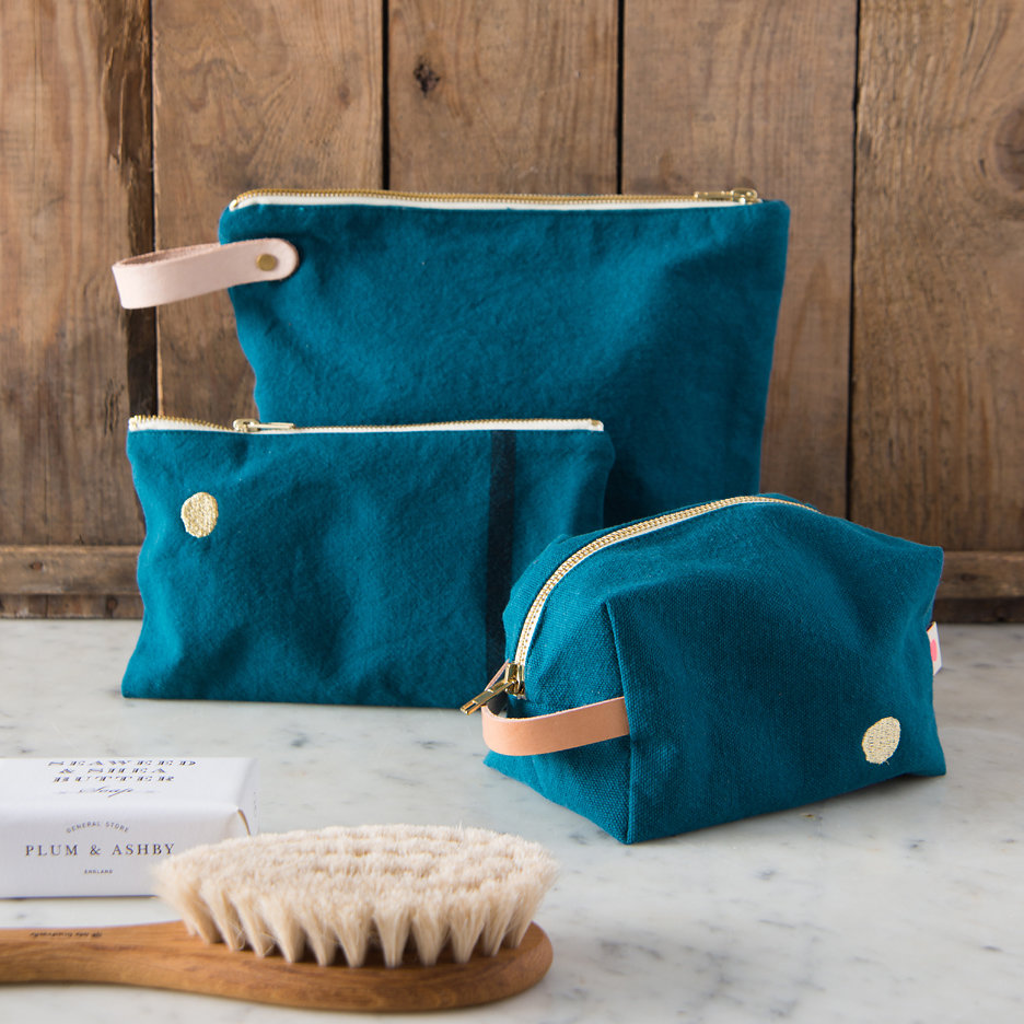 Teal with gold dot washbags, toiletry bags