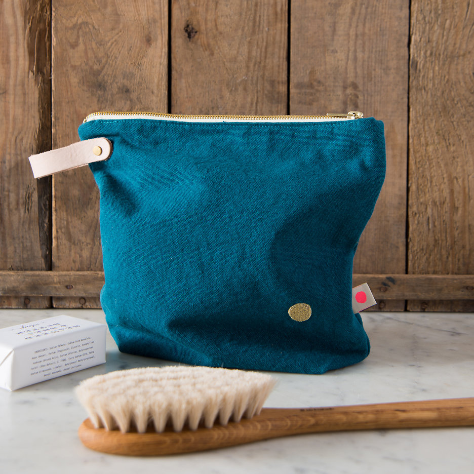 Teal, gold dot washbag, toiletry bag large