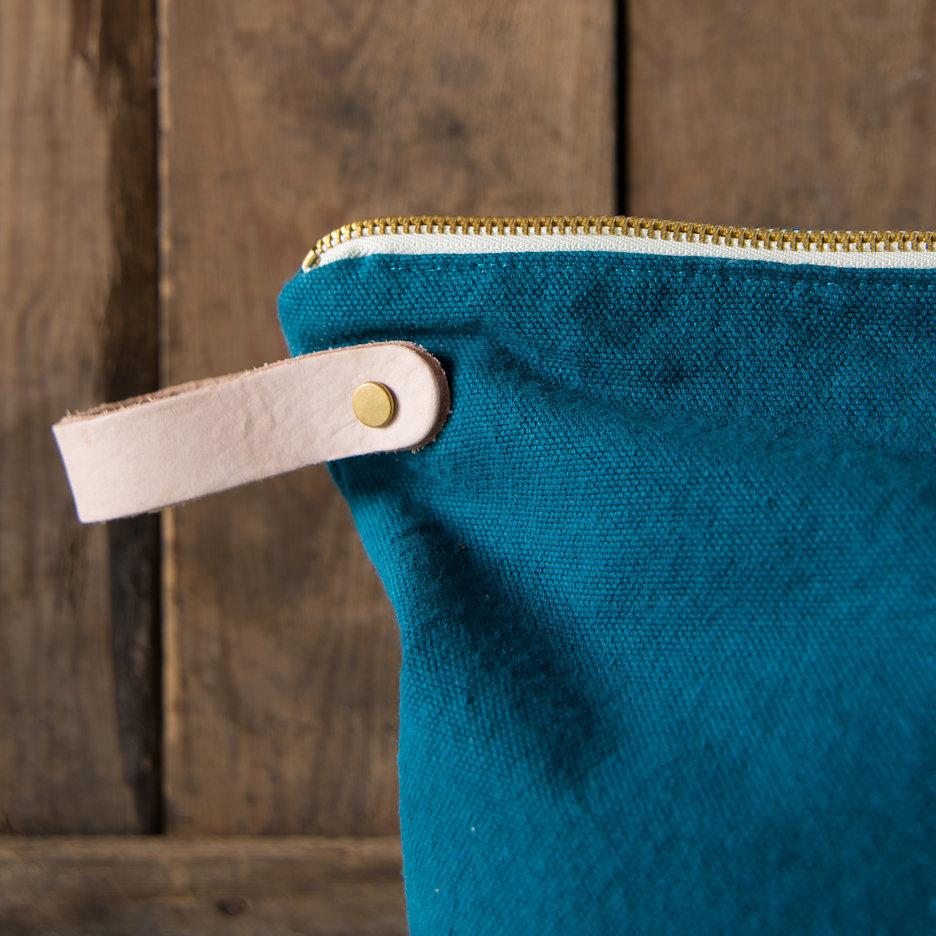 Teal, gold dot washbag, toiletry bag large