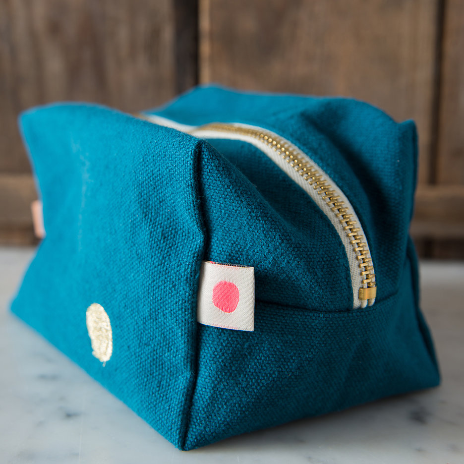 Teal gold cube washbag, toiletry bag