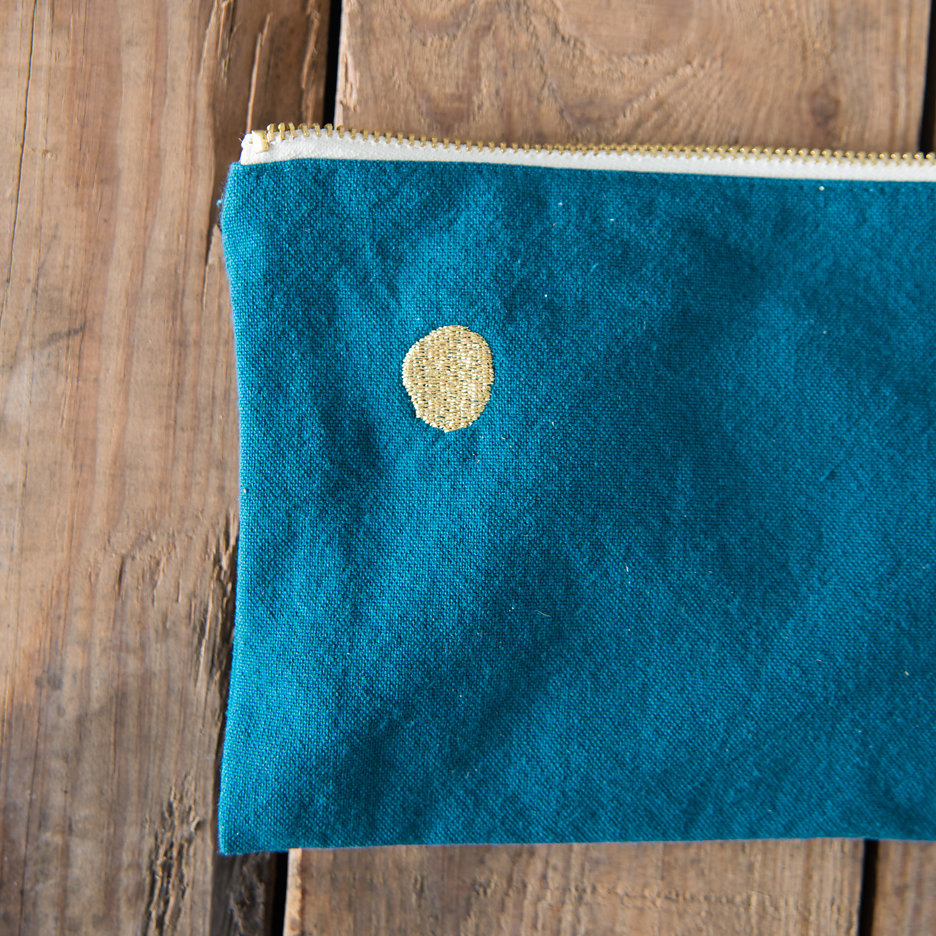 Teal gold flat pochette, makeup bag, pencil case