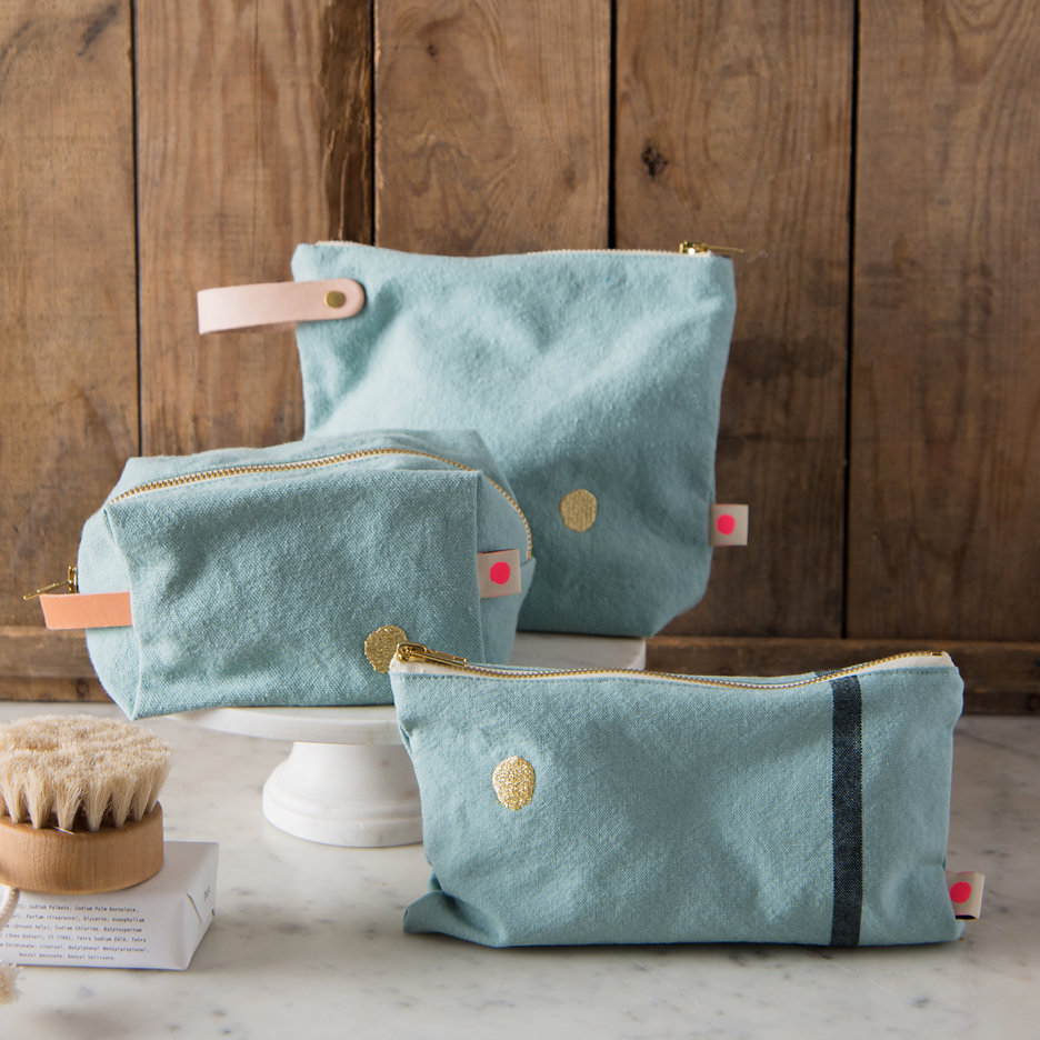 Duck egg with gold dot washbags, toiletry bags