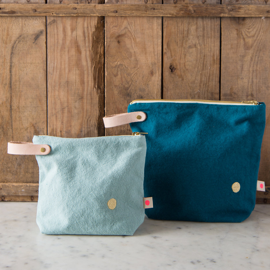 Teal / duck egg with gold dot washbags, toiletry bags