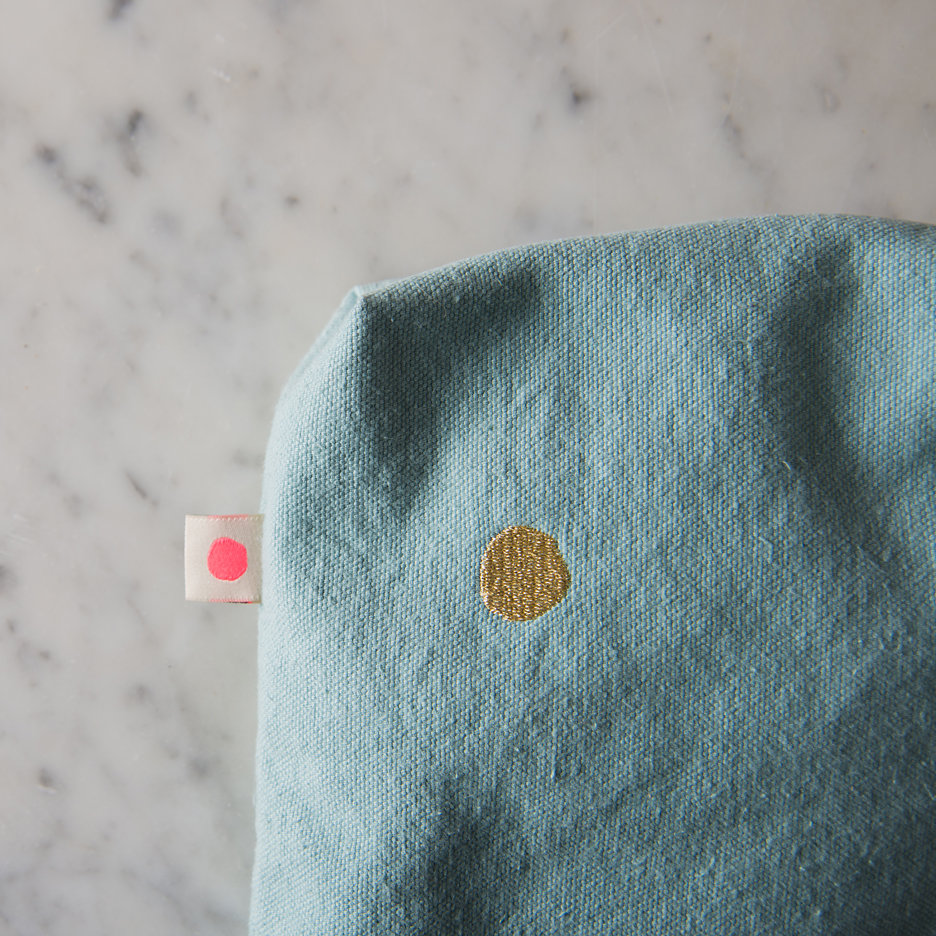 Duck egg, gold dot washbag, toiletry bag
