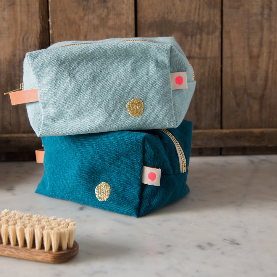 Duck egg / teal gold cube washbag, toiletry bag