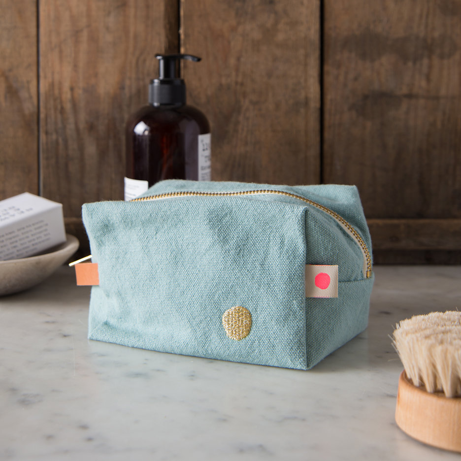 Duck egg gold cube washbag, toiletry bag