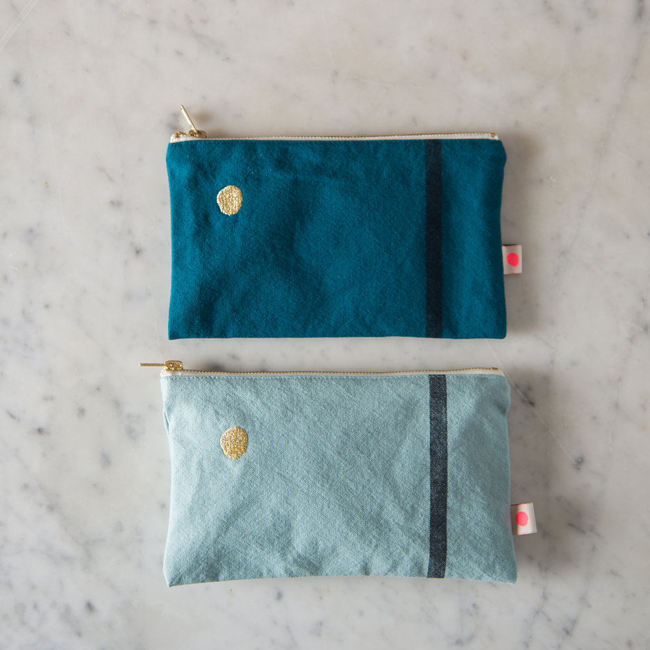 Duck egg / teal gold flat pochette, makeup bag, pencil case