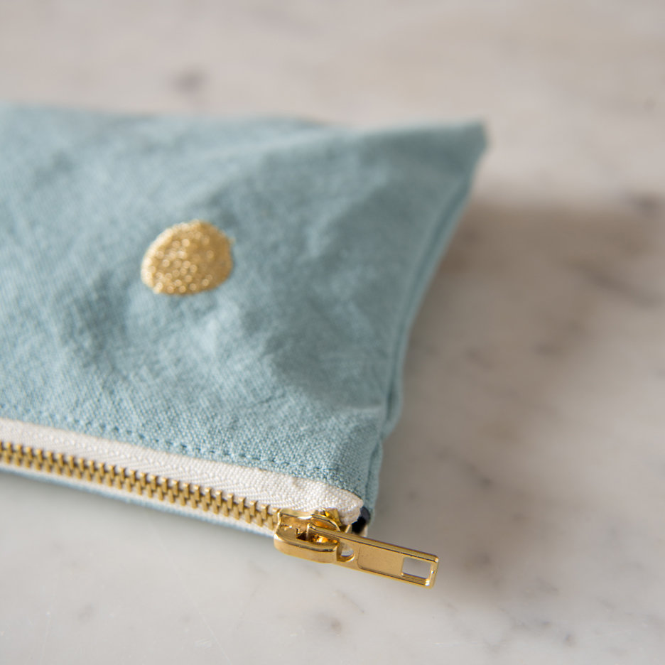 Duck egg and gold flat pochette, makeup bag, pencil case