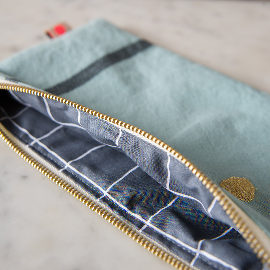 Duck egg gold flat pochette, makeup bag, pencil case