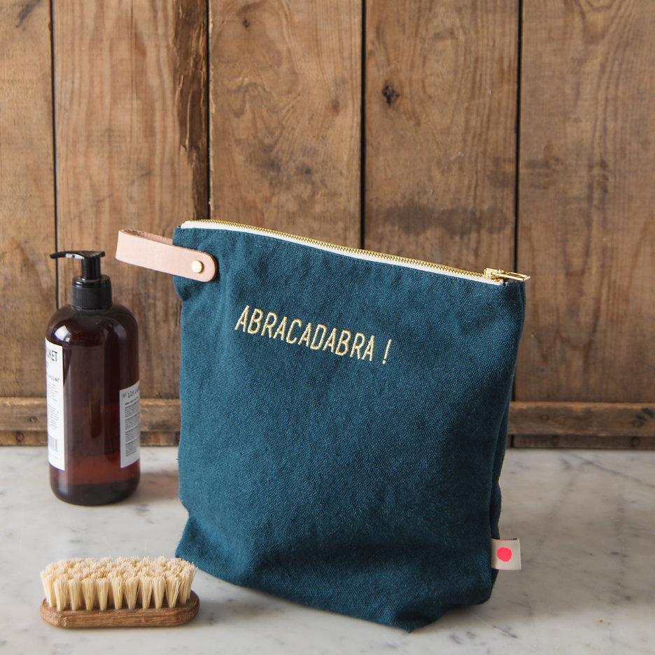 Abracadabra washbag / toiletry bag, dark slate & gold