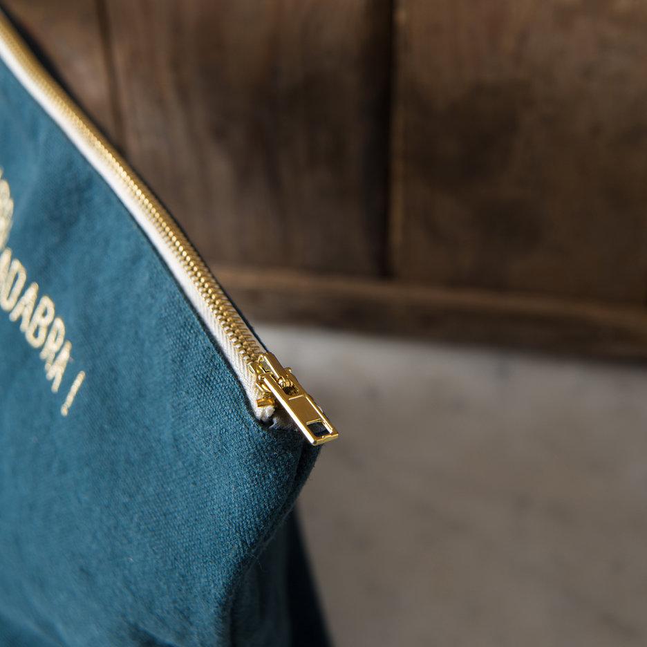 Abracadabra washbag / toiletry bag, dark slate & gold
