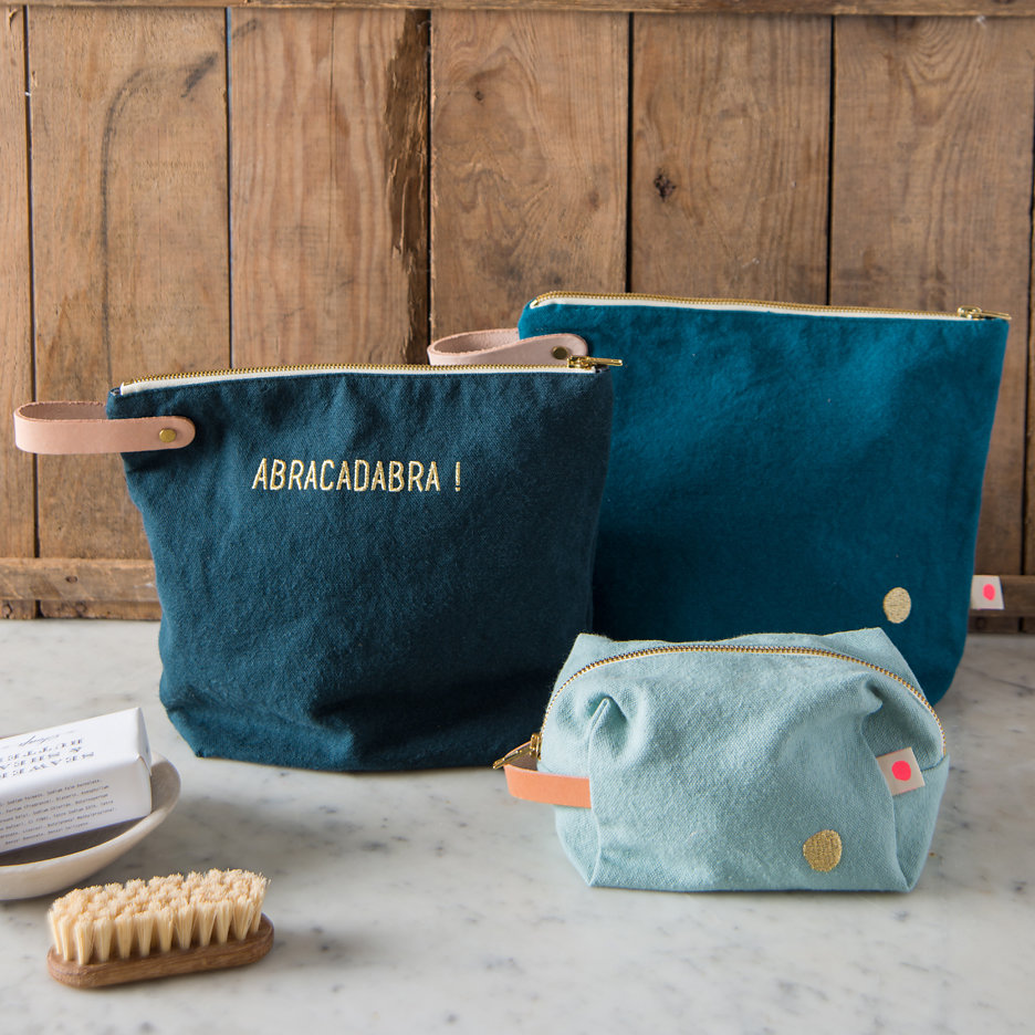 Teal, duck egg. slate with gold dot washbags, toiletry bags