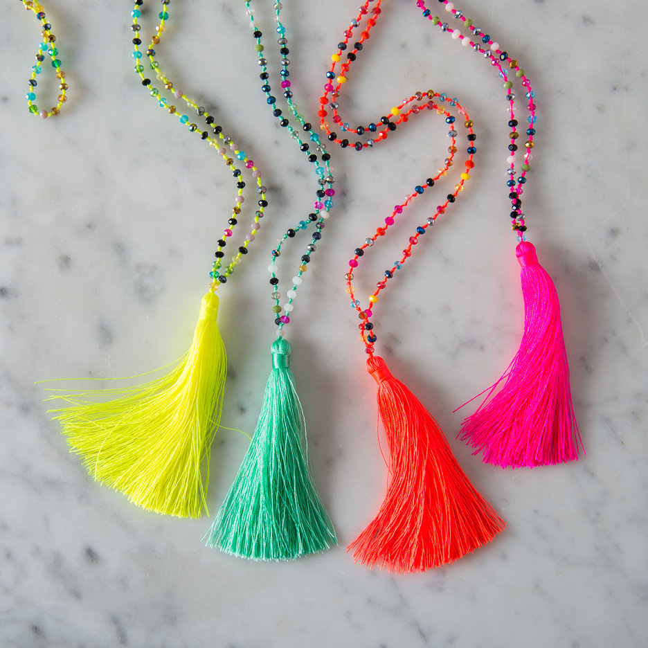 Tassel necklaces neon with multicolour beads