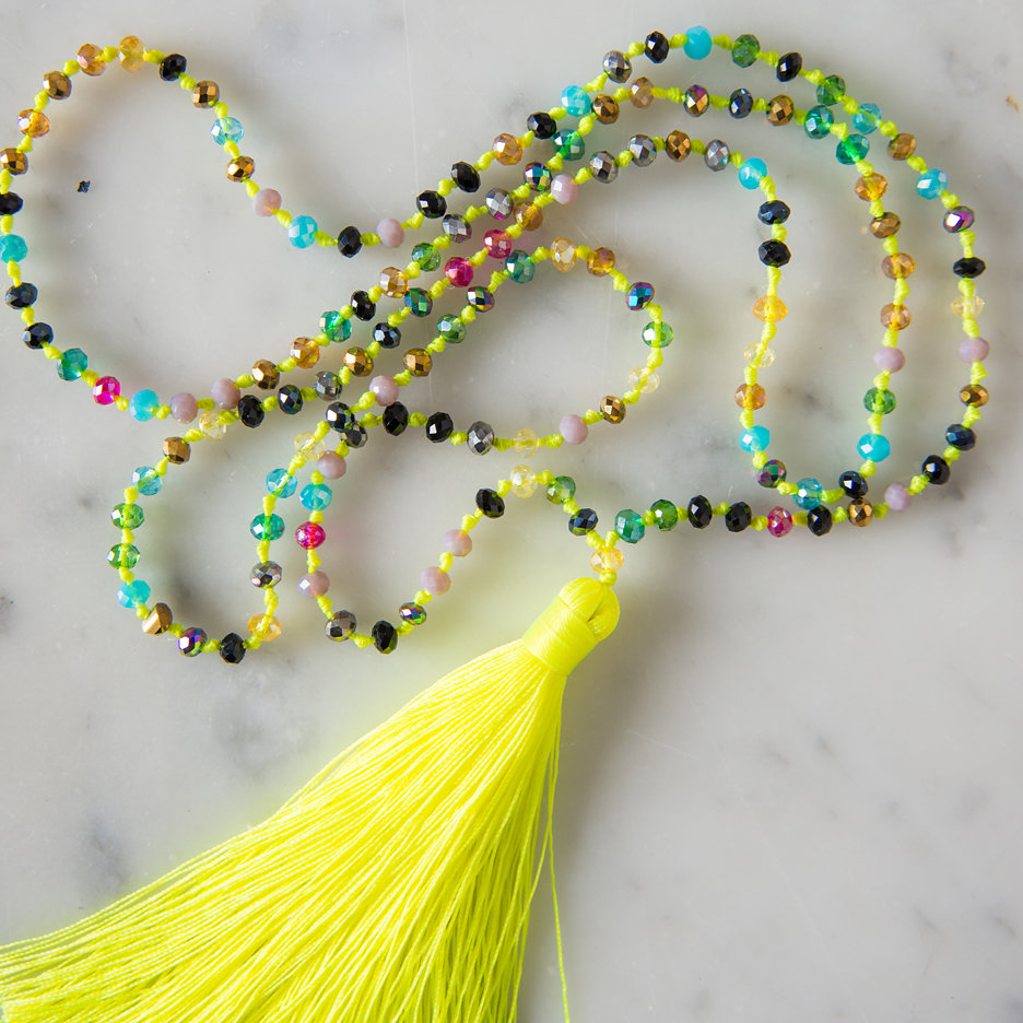 Tassel necklace neon yellow multicolour bead