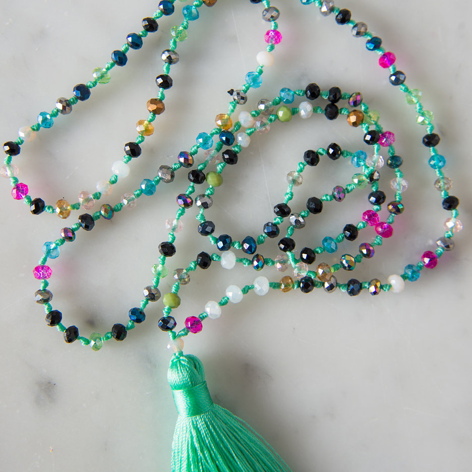 Tassel necklace aqua multicolour bead