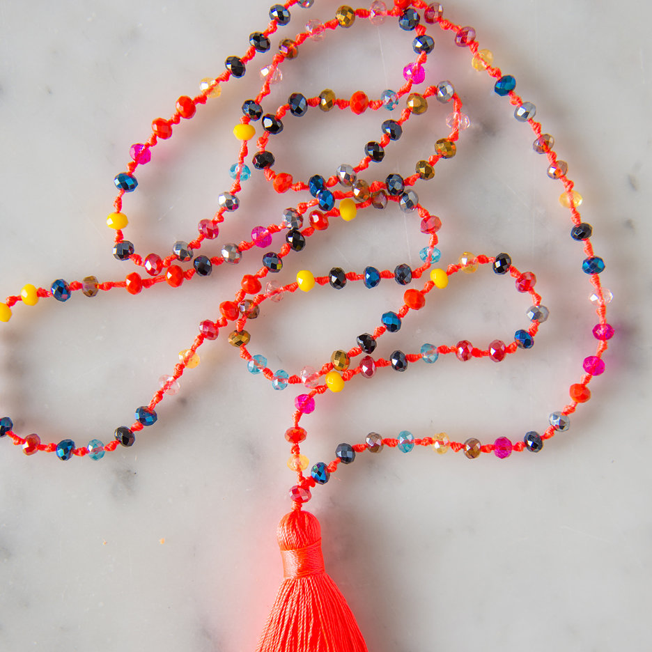 Tassel necklace neon orange multicolour bead