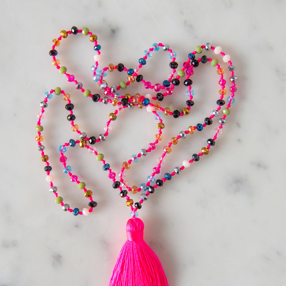 Tassel necklace neon pink multicolour bead