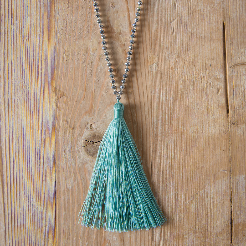 Tassel necklace seagreen silver beads