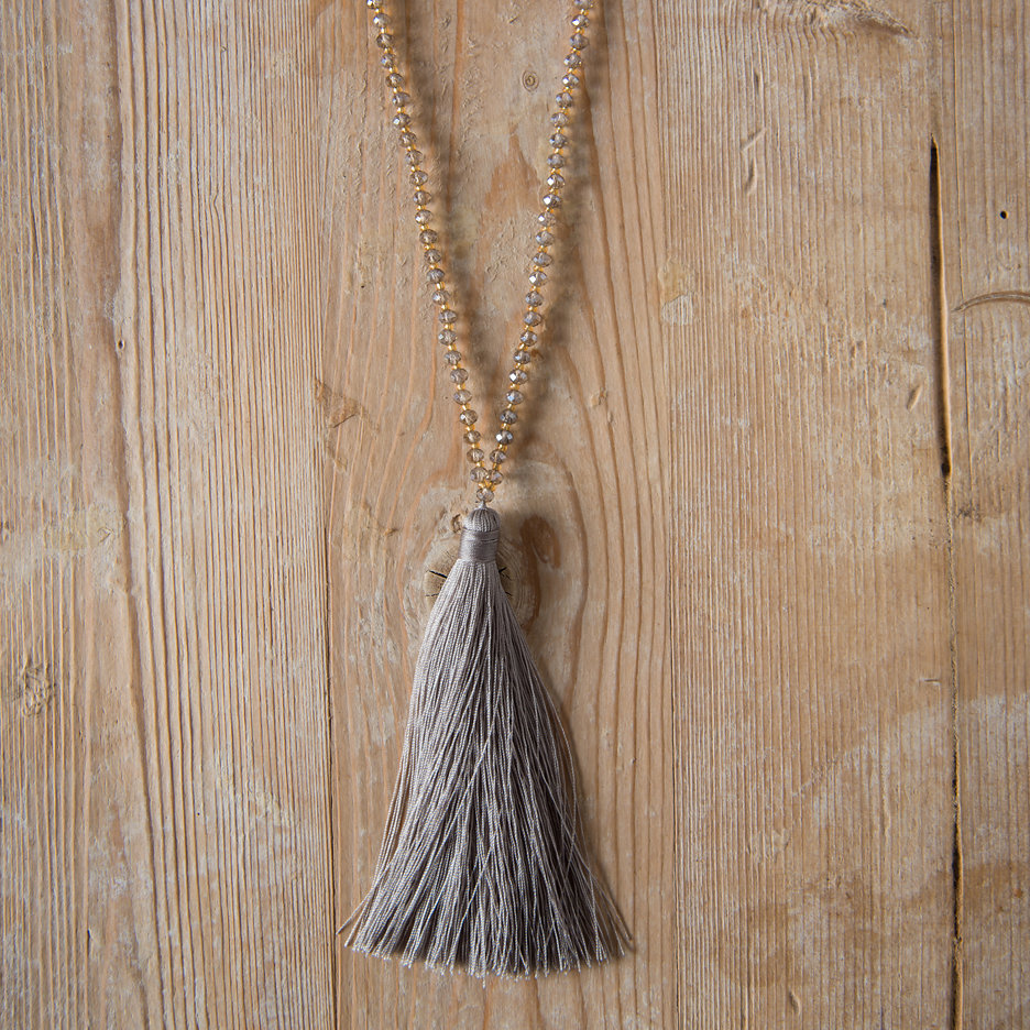 Tassel necklaces taupe, bronze beads