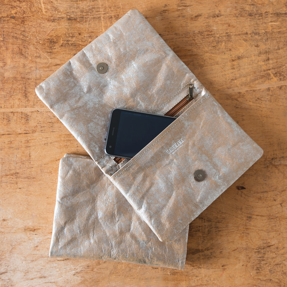 Distressed metallic Uashmama clutch bag