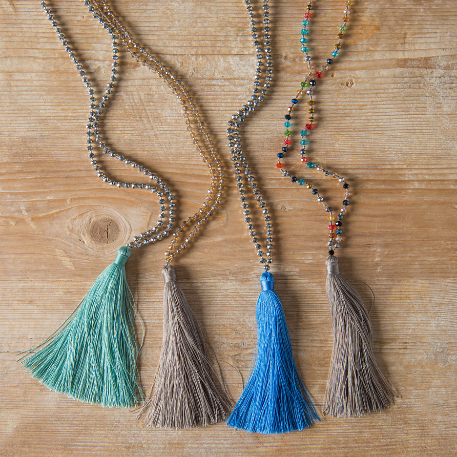 Tassel necklaces seagreen, taupe, cornflower blue