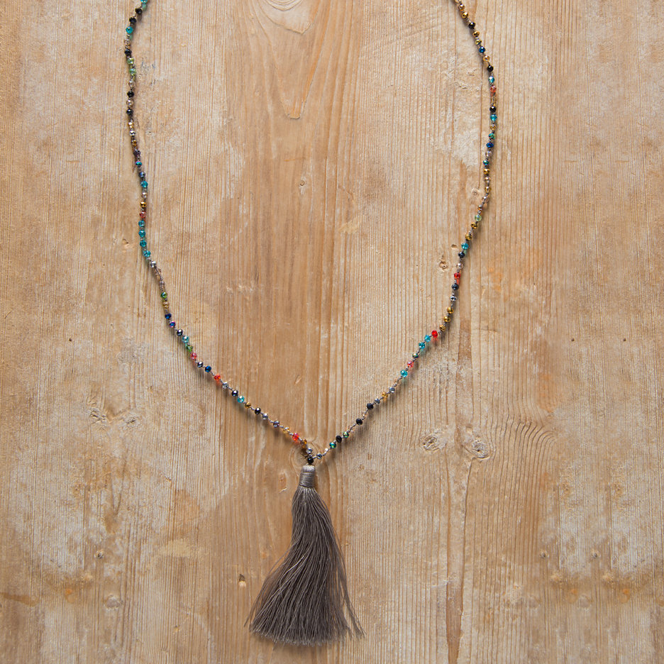 Tassel necklace taupe multicolour beads