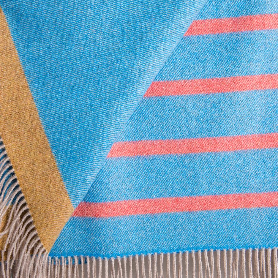 Merino lambswool throw grey, blue, orange