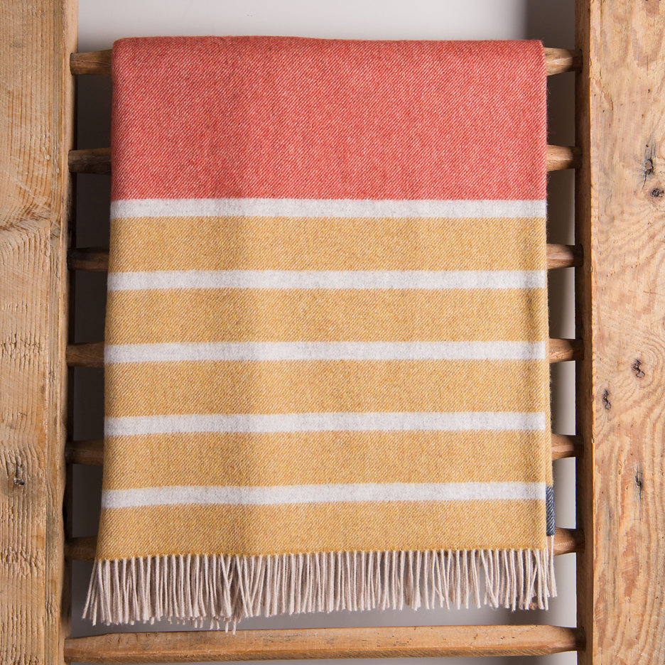 Merino lambswool throw burnt orange, mustard, charcoal