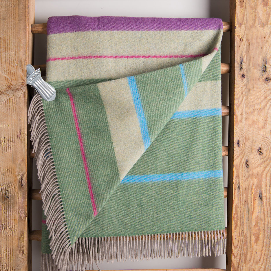 Merino lambswool throw blanket sage and heather